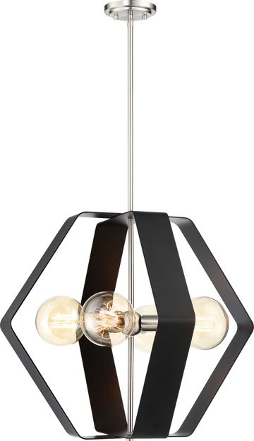 Nuvo Lighting 60/6393 Zen 4 Light 24 Inch Pendant Matte Black Finish with Brushed Nickel Accents